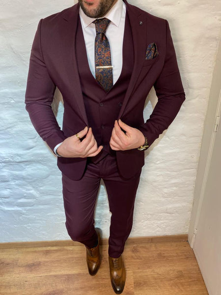 """Aubergine"" Burgundy Suit (0100) - Papyon.be"