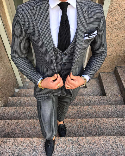 "Grey ""Houndstooth"" design Suit (0010) - Papyon.be"