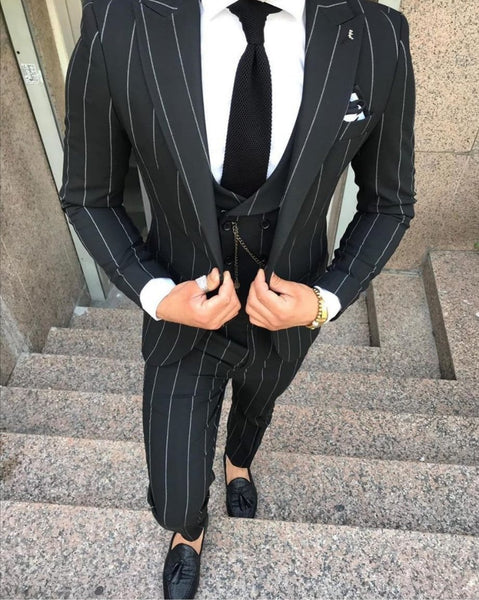 Italian style black striped Suit (0026) - Papyon.be