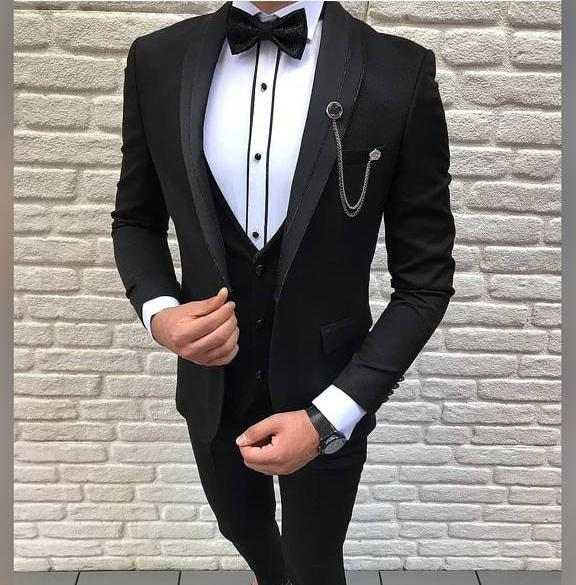 Zwart glitter lines smoking/ Tuxedo zwart  (002) - PAPYON COLLECTION