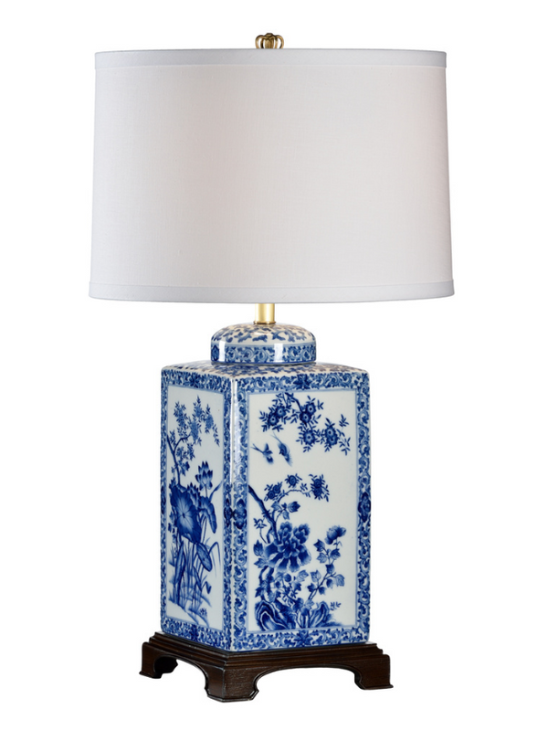 Lotus Lamp in Blue and White