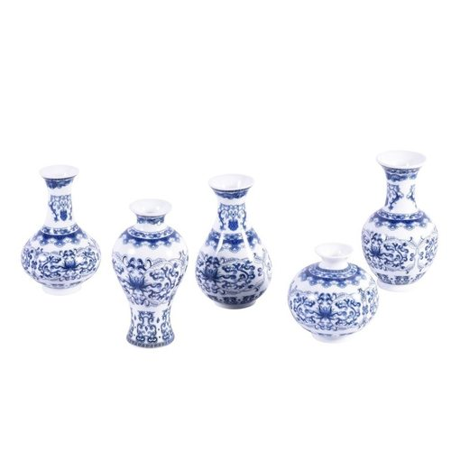 Blue & White Porcelain Bud Vases - Set of 5