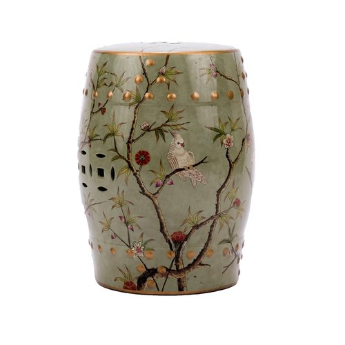Famille Rose Green Stool Bird Motif