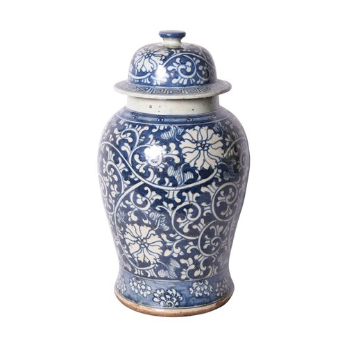 Blue & White Dynasty Flower Temple Jar