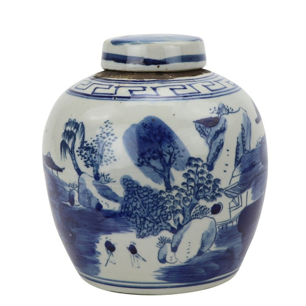 Blue & White Mini Tea Jar Mountain Tree