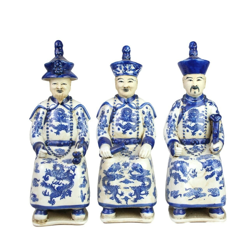 Blue & White Porcelain Sitting Qing Emperors of 3 Generations - Set