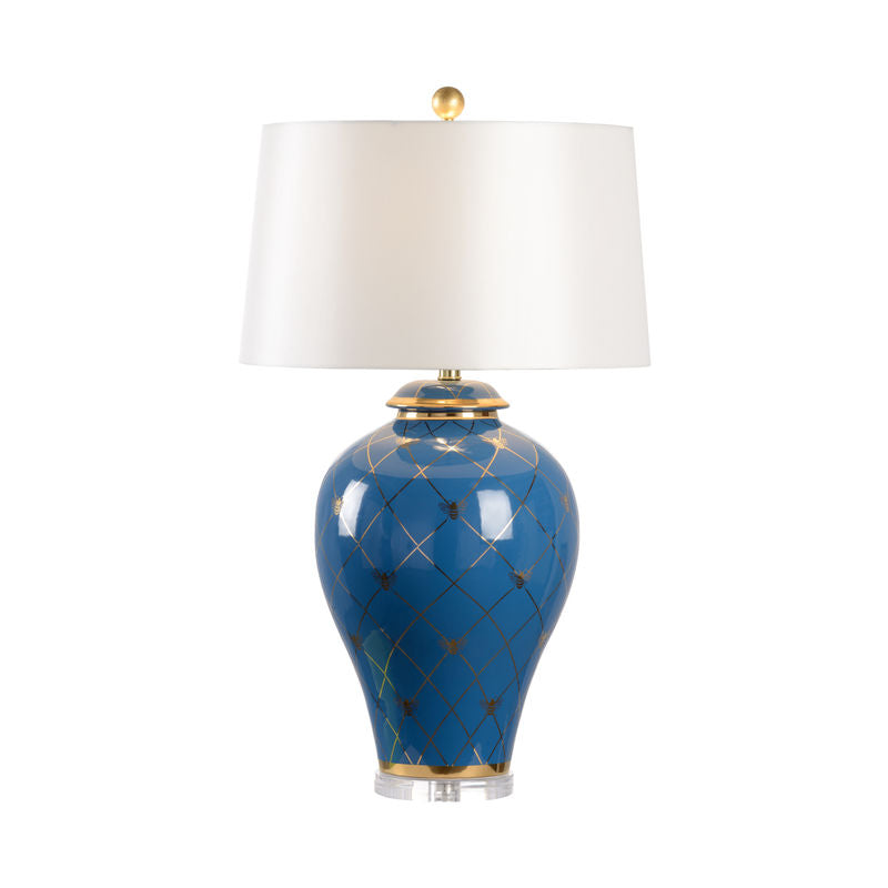 Blue Bee Ginger Jar Lamp