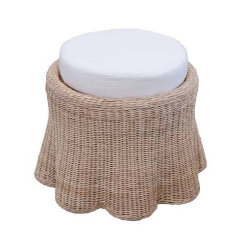 Scalloped Small Round Ottoman