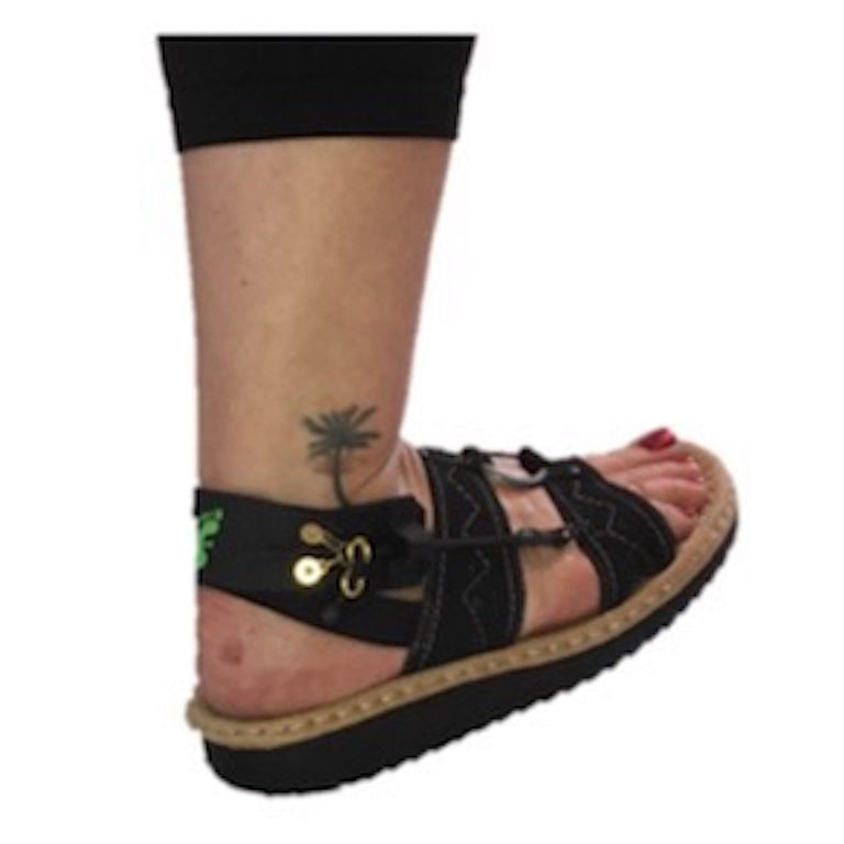 Freedom Walk AFO Free Flex Drop Foot Brace on Susan in black sandal