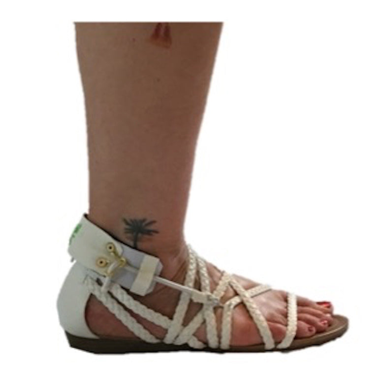 Freedom Walk AFO Free Flex Drop Foot Brace on Susan in white sandal