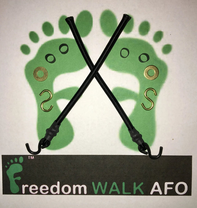 FreedomWalkAFO Drop Foot Brace replacement cords Kit includes cords, hooks, washers, and shrink tubing with Footprint Logos and name in background.