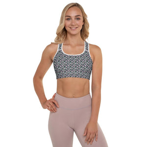 Abstract Pink Raindrops Padded Sports Bra - White / XS