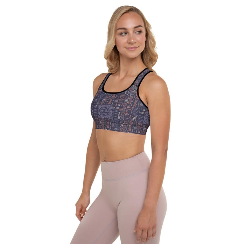 Aztec Tribal Padded Sports Bra - Black / XS