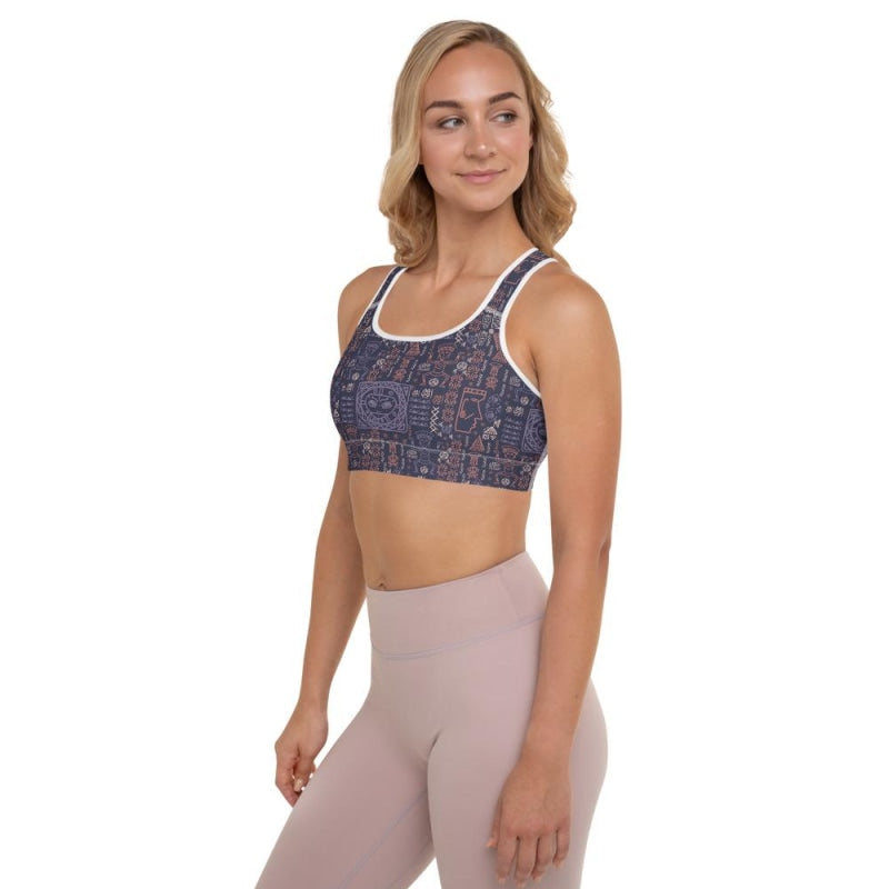 Aztec Tribal Padded Sports Bra - White / XS
