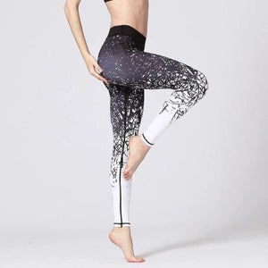 Black & White Winter Abstraction Yoga Pants - S