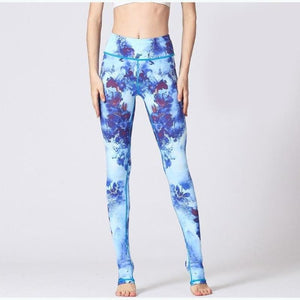 Blue Blooming Floral Yoga Pants