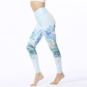 Blue Mountain Lotus Yoga Pants - S