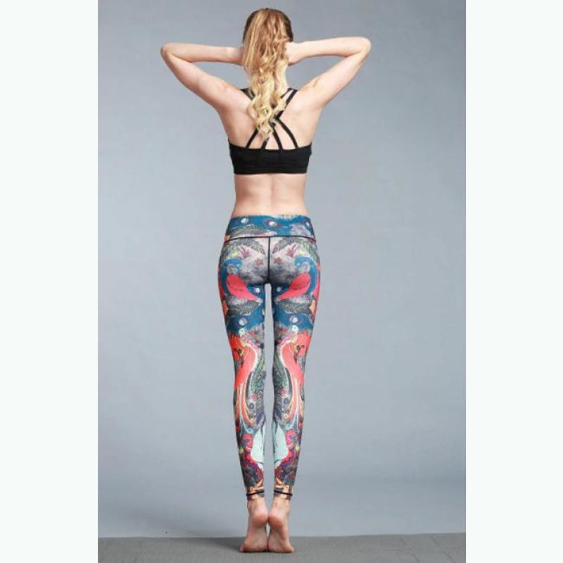 Blue Peacock Yoga Pants