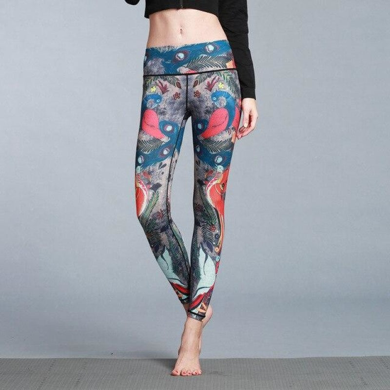 Blue Peacock Yoga Pants - S