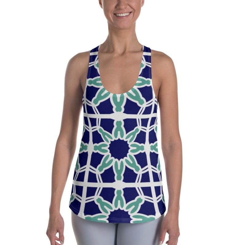 Blue&Mint Abstract Women's Racerback Tank - XS