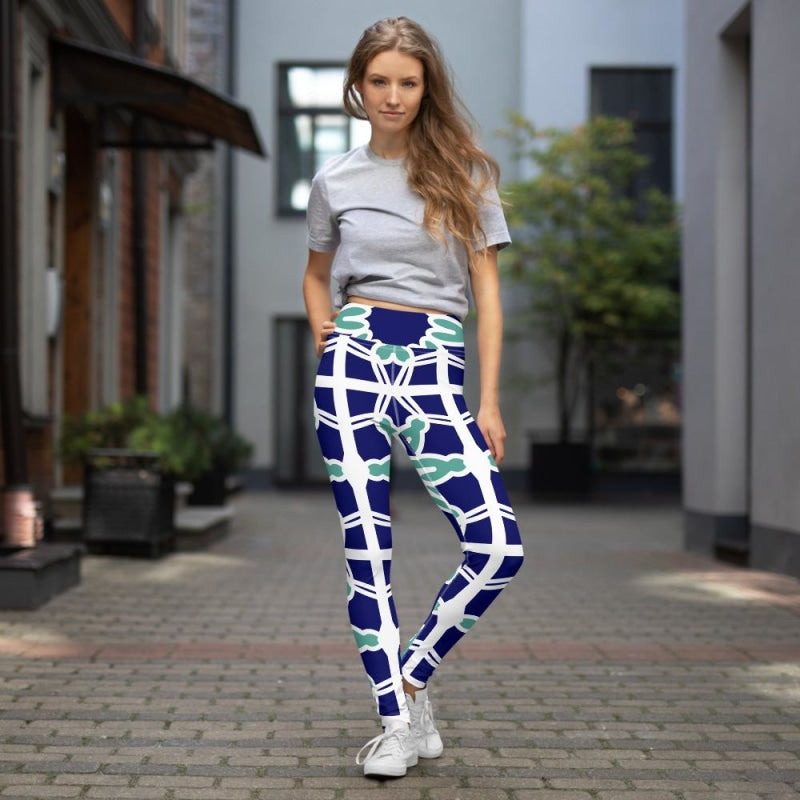 Blue&Mint Abstract Yoga Pants