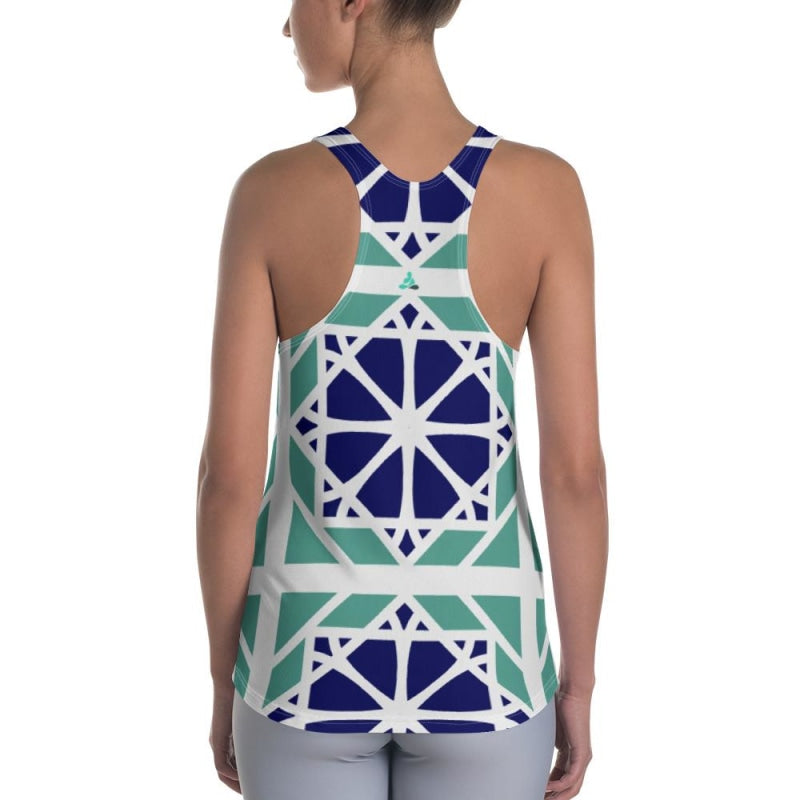 Blue&Mint Mandala Abstract Women's Racerback Tank