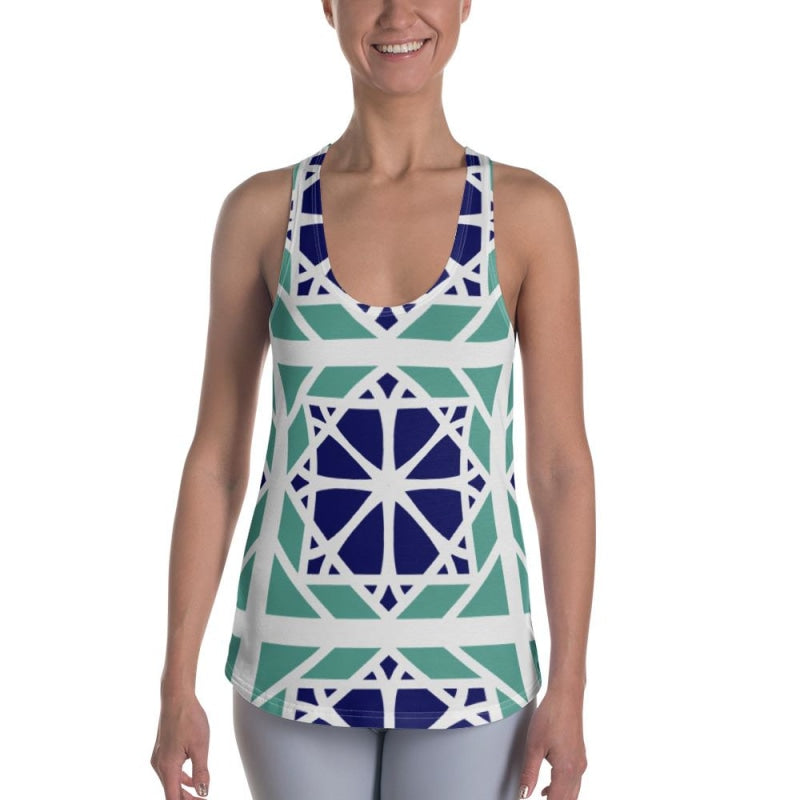 Blue&Mint Mandala Abstract Women's Racerback Tank - XS