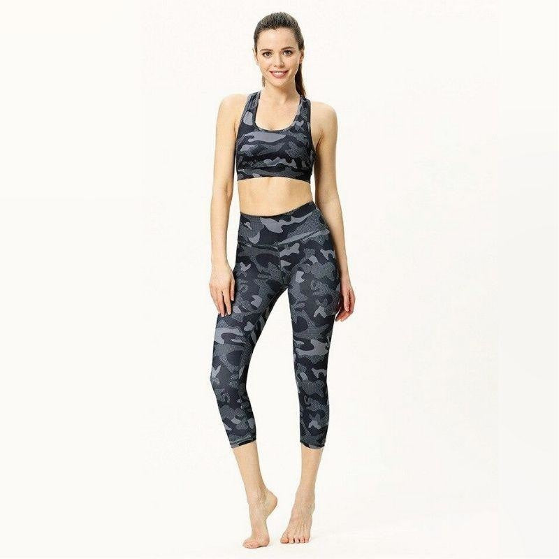 Camo Black & Grey Yoga Pants
