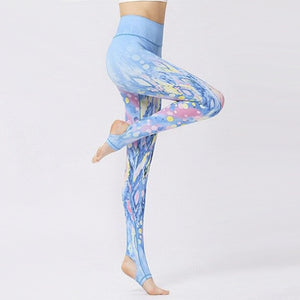 Colorful Bubbles Blue Yoga Pants - S