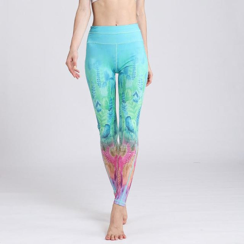 Colorful Feathers Yoga Pants - S