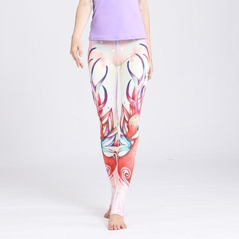 Fawn Tattoo Yoga Pants - Deer Red / S