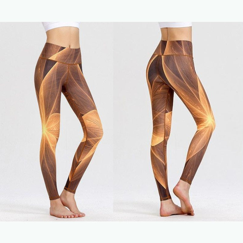 Geometric Brown Palette Yoga Pants