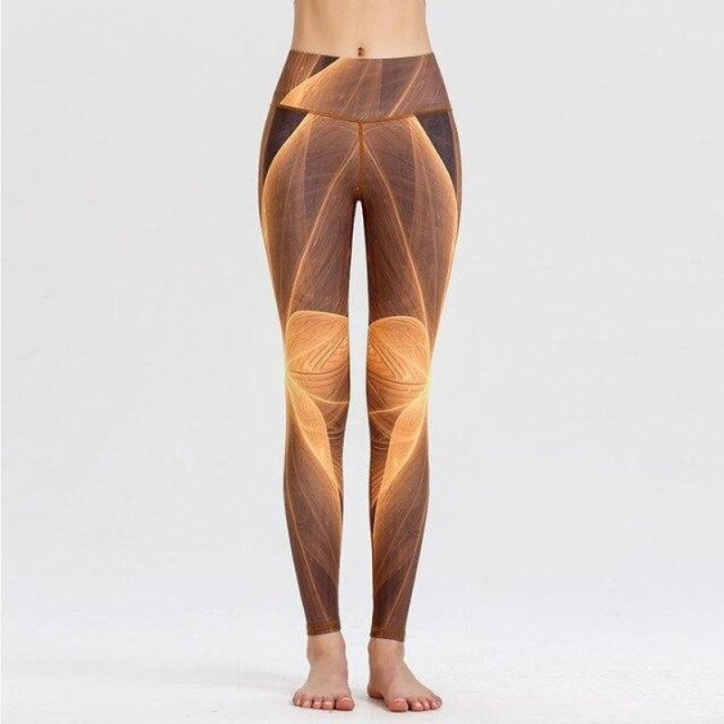 Geometric Brown Palette Yoga Pants - XL