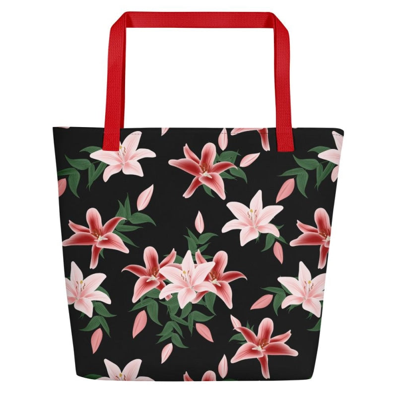 Lily Flower Beach Bag - Red