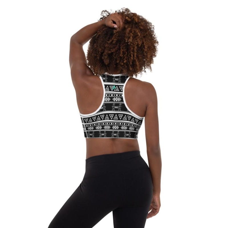 Maya Tribal Black Padded Sports Bra