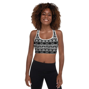 Maya Tribal Black Padded Sports Bra - White / XS