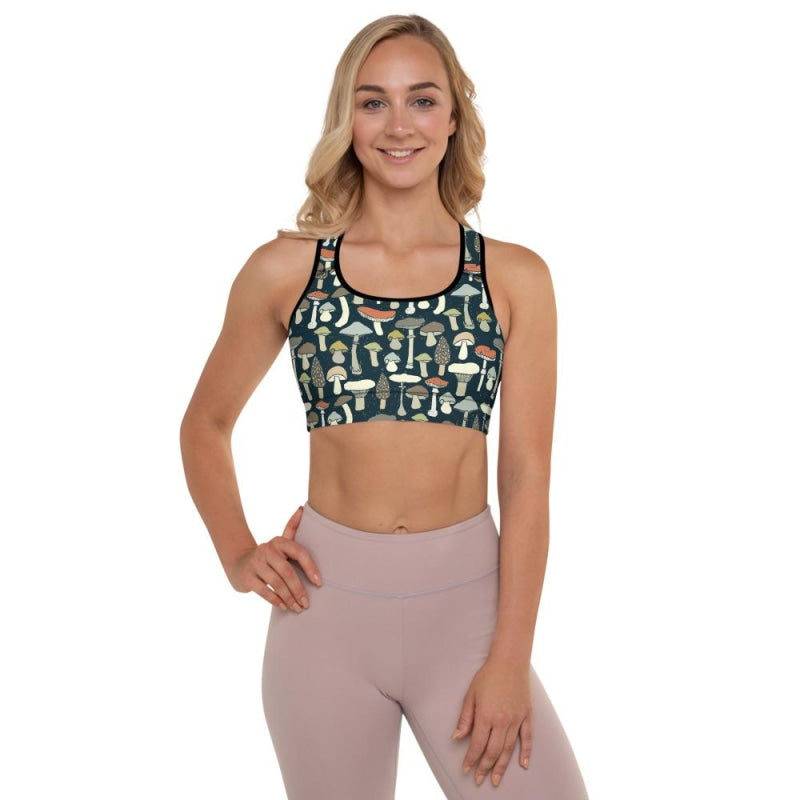 Mushroom Padded Sports Bra - Black / XS