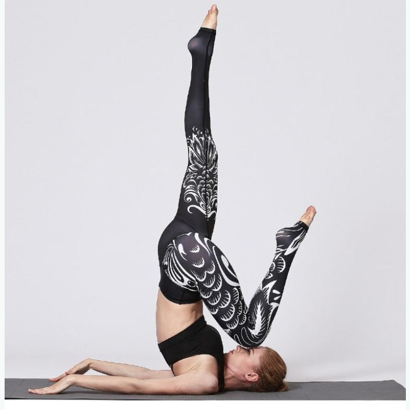 Tattooed Black & White Yoga Pants