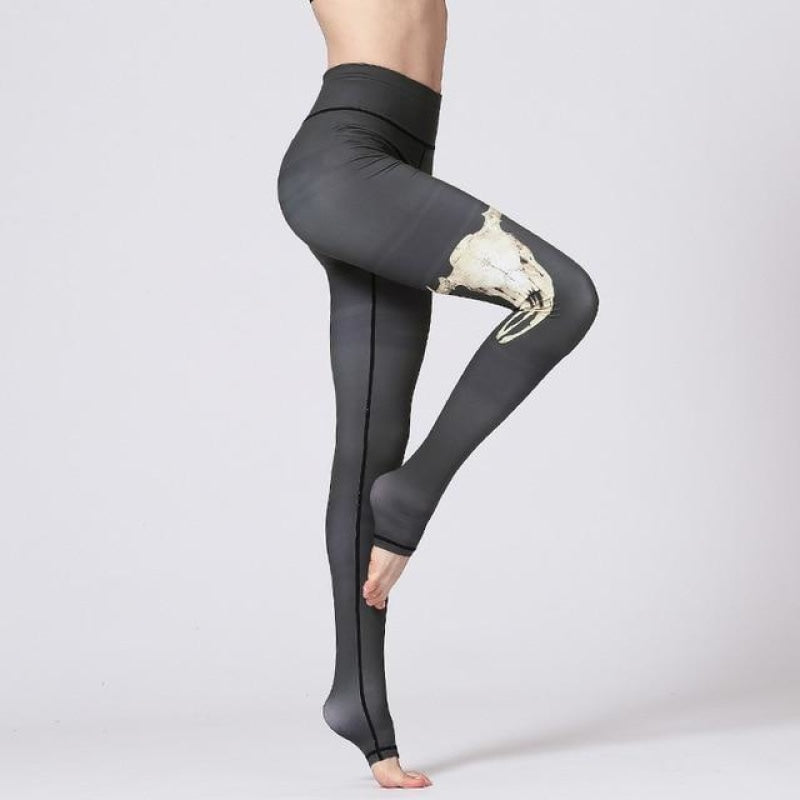 Tribal Skull Yoga Pants - Deep Green Deer / S