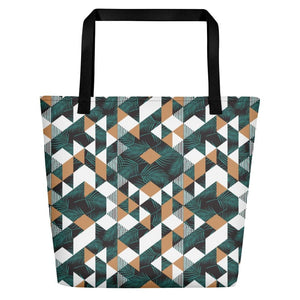 Tropical Geometric Beach Bag - Black