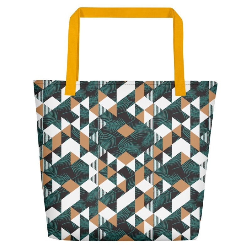 Tropical Geometric Beach Bag - Yellow