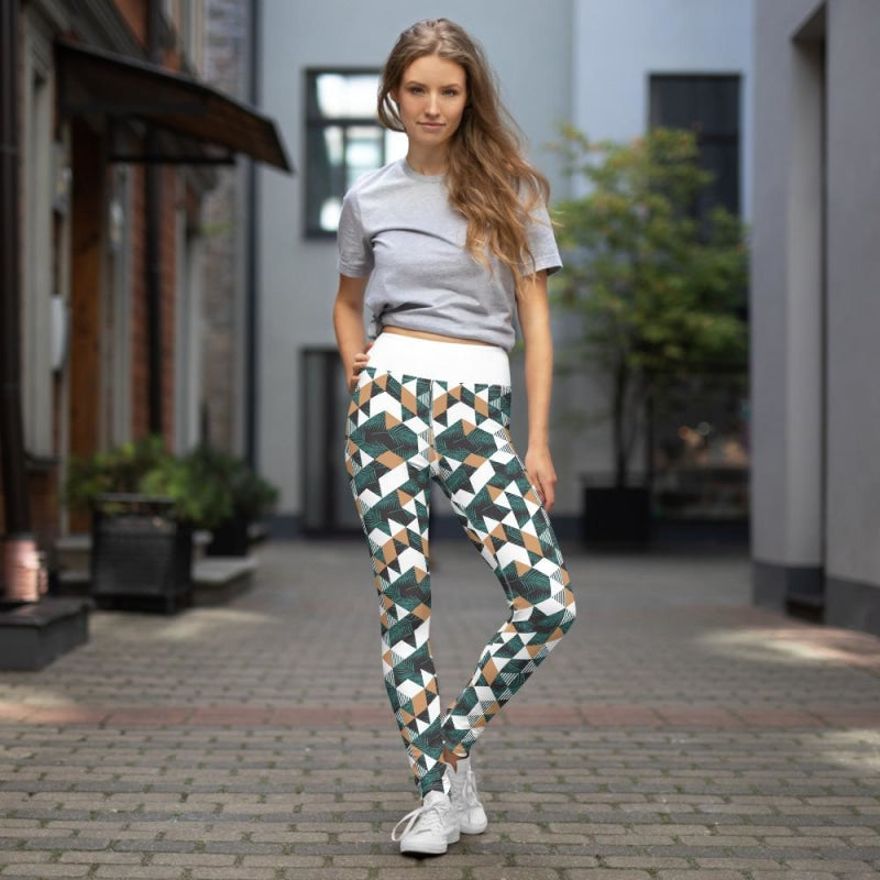 Tropical Geometric Yoga Pants