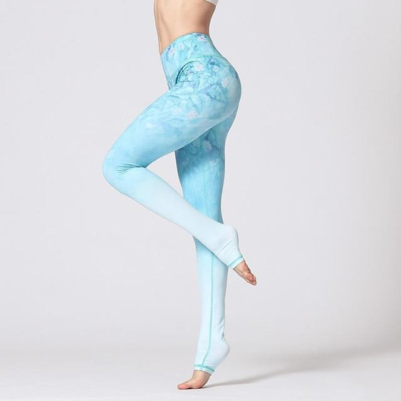 White & Electric Blue Yoga Pants - Blue Green Flower / S