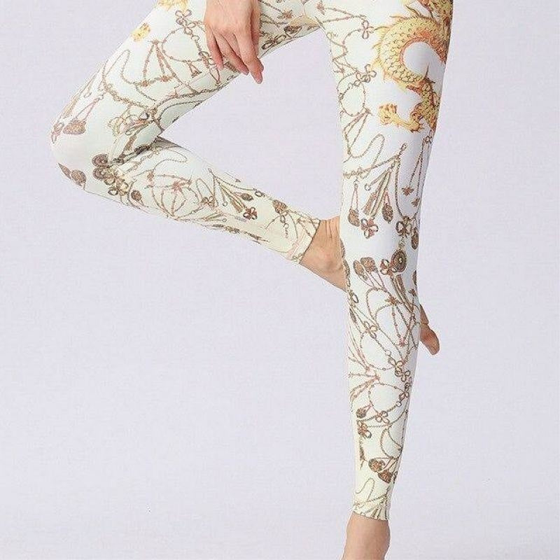 White & Gold Oriental Dragon Yoga Pants