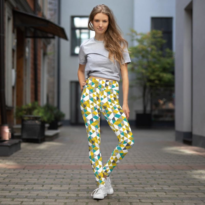 Yellow Tropical Geometric Yoga Pants