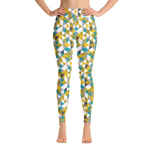 Yellow Tropical Geometric Yoga Pants - XS