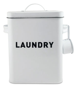 Metal Laundry Container  - Modern Farmhouse Detergent Powder Storage & Organization Canister