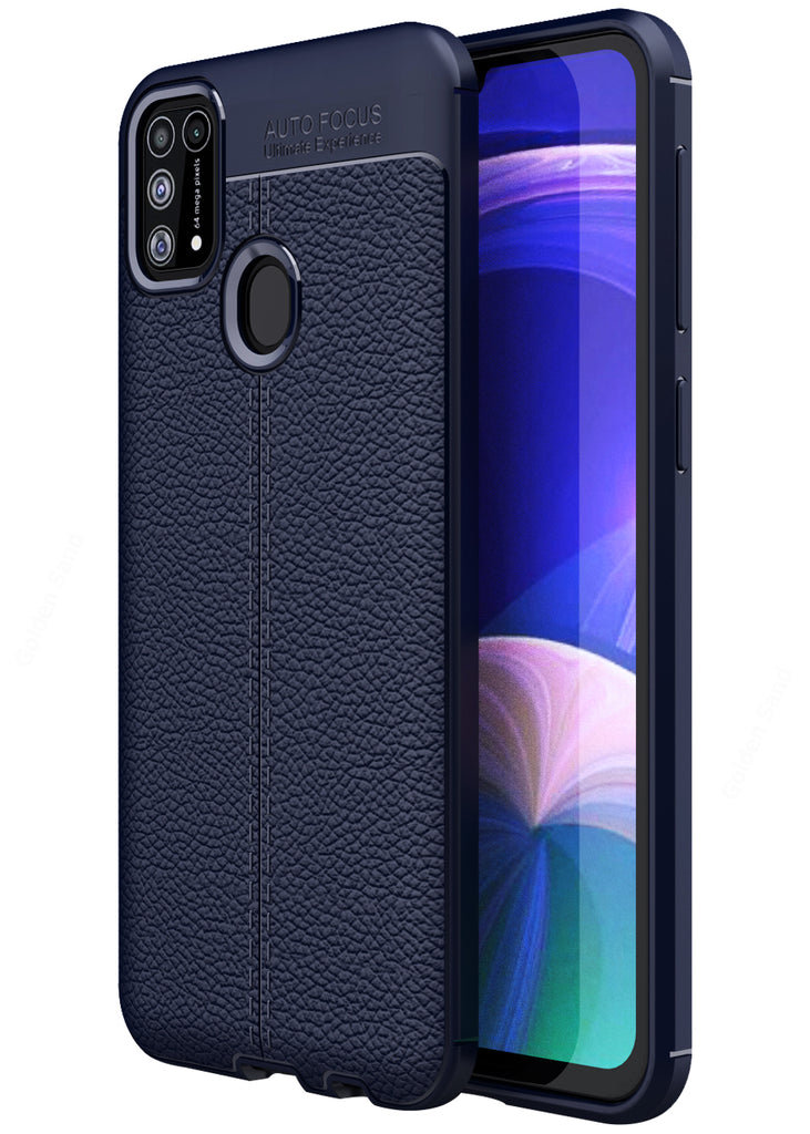 Back Cover, Drop Tested, TPU (Rubber), blue, Galaxy M31, Leather, Leather Armor TPU, ₹500 - ₹699, Solid, Slim Design, , samsung