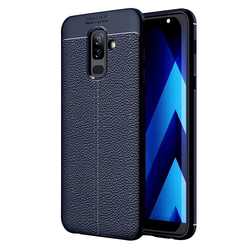 Back Cover, Drop Tested, TPU (Rubber), blue, Galaxy A6 Plus, Leather, Leather Armor TPU, ₹500 - ₹699, Solid, Slim Design, , samsung