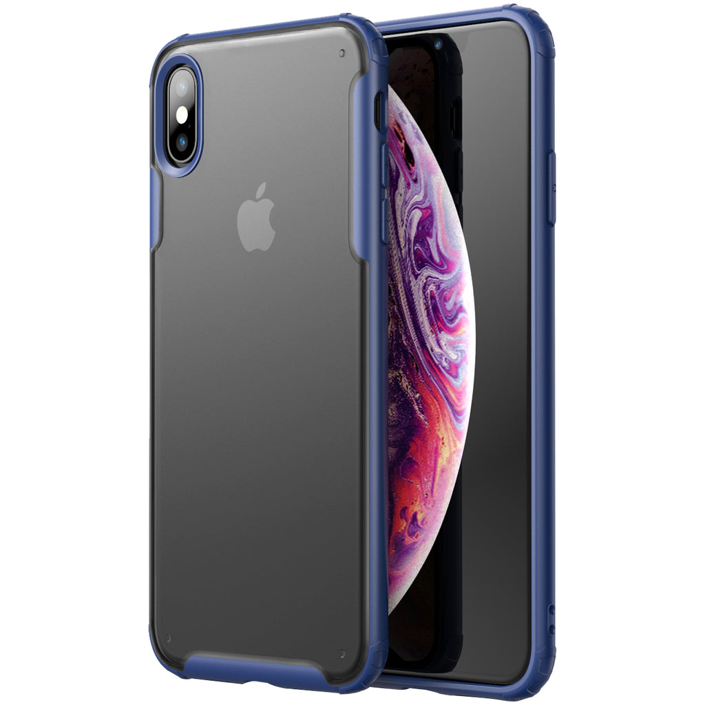 Apple, Back Cover, Drop Tested, TPU (Rubber), blue, iphone XS max, Rugged Frosted, ₹500 - ₹699, PolyCarbonate (Plastic), Slim Design, translucent
